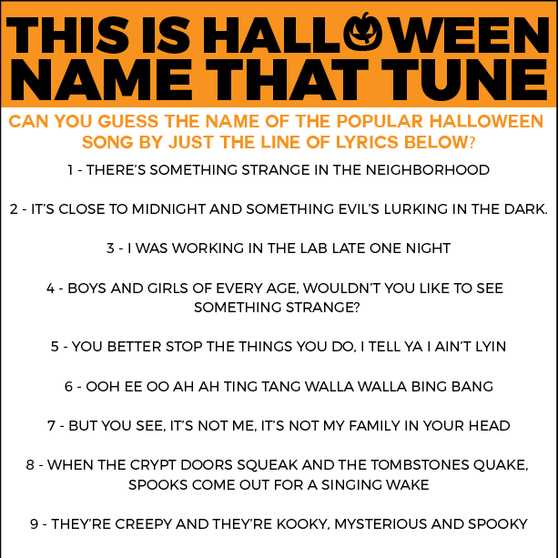 Free Printable Halloween Name that Tune Game - Play Party Plan