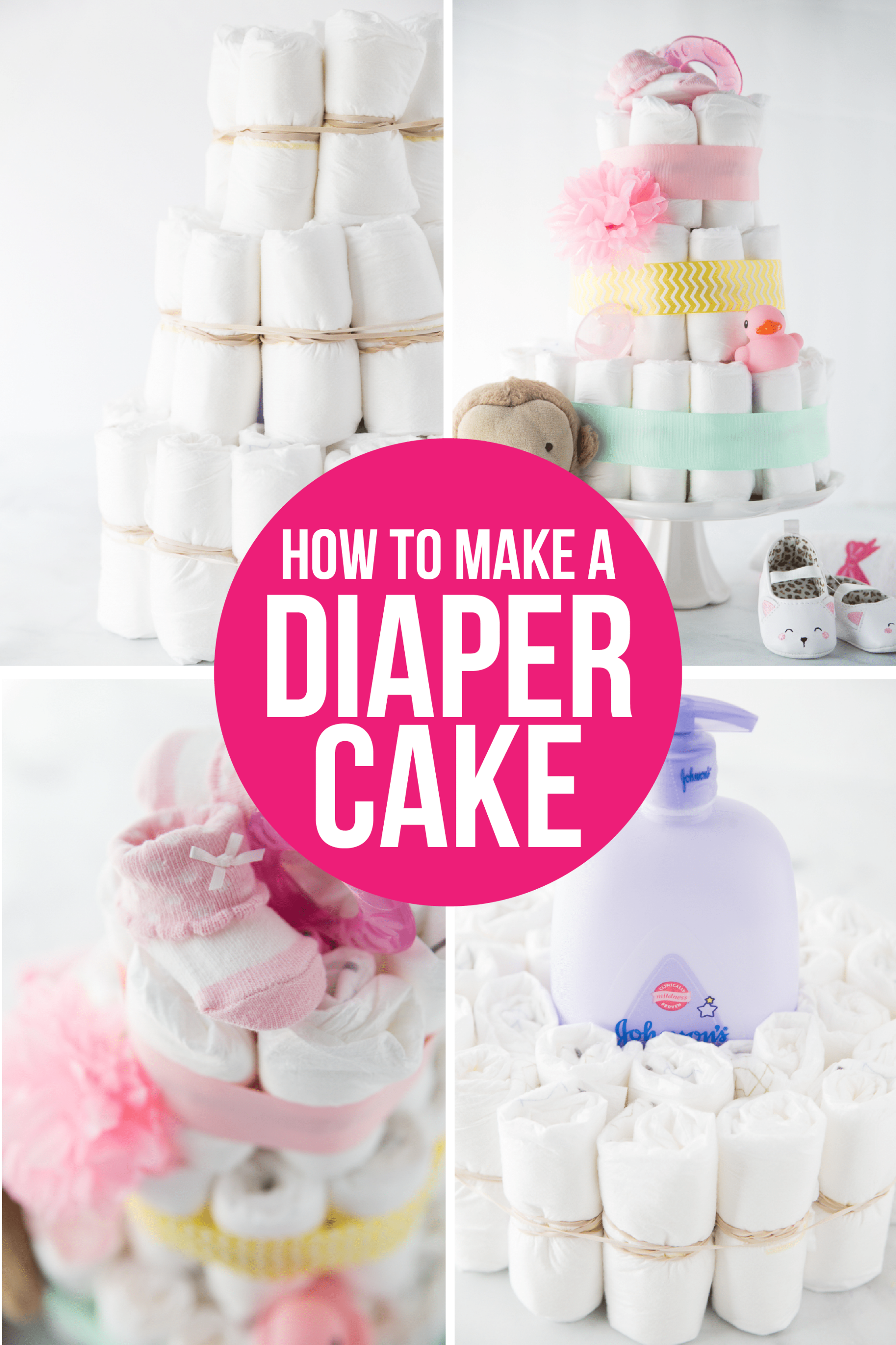 A simple DIY diaper cake tutorial showing you in photos and video how to make a diaper cake as well as other great diaper cake ideas! Learn how to make an easy diaper cake in just a few minutes. via @playpartyplan
