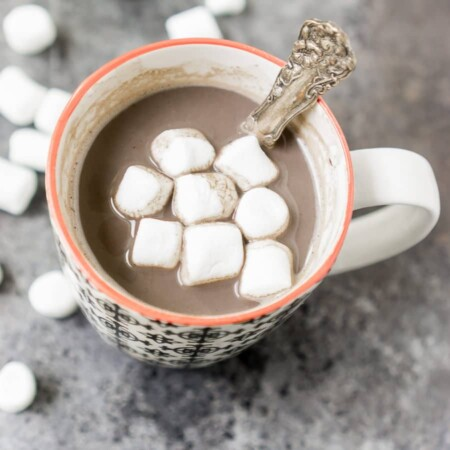 A healthy homemade hot chocolate recipe made with coconut sugar and collagen peptides