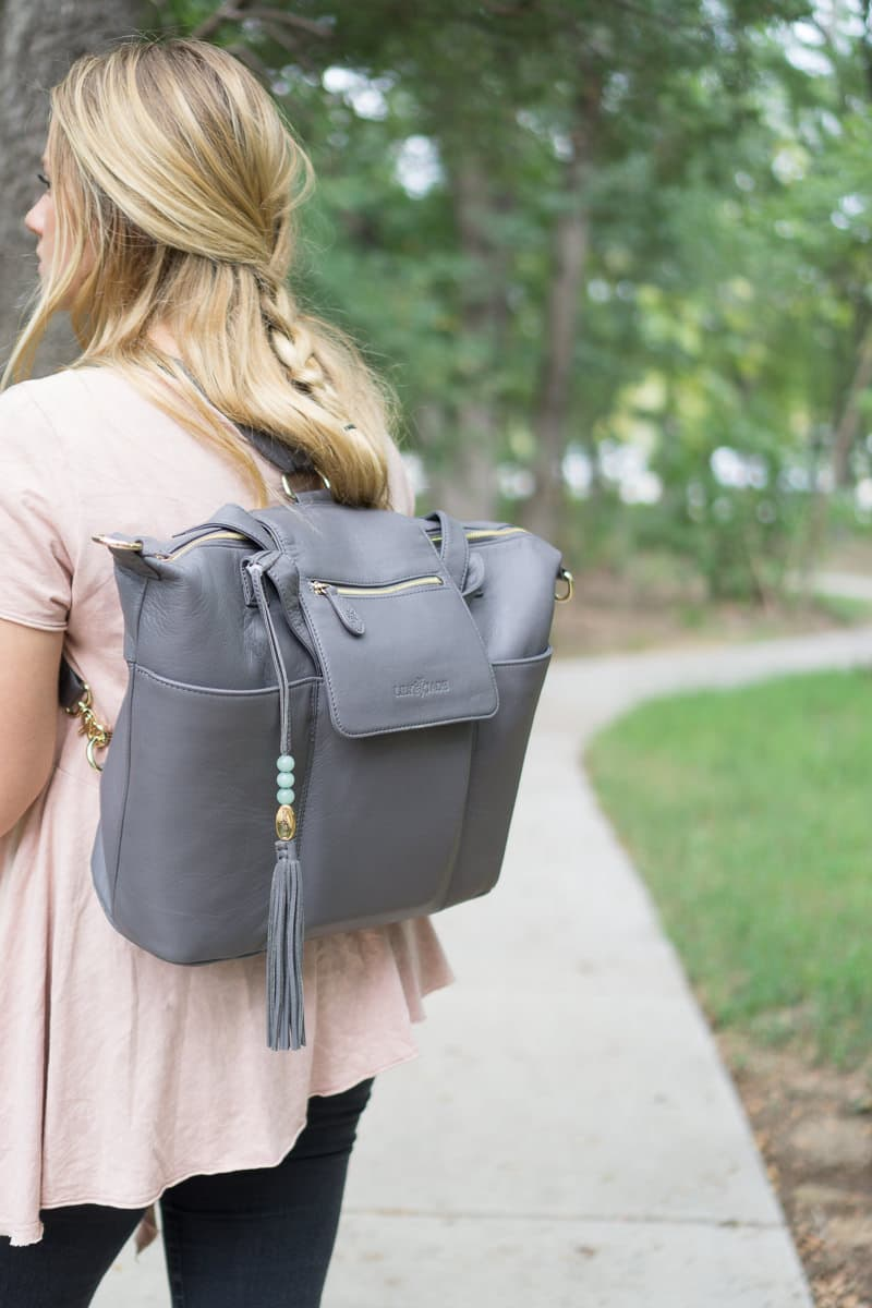 Use the Lily Jade diaper bag hands free with backpack style!