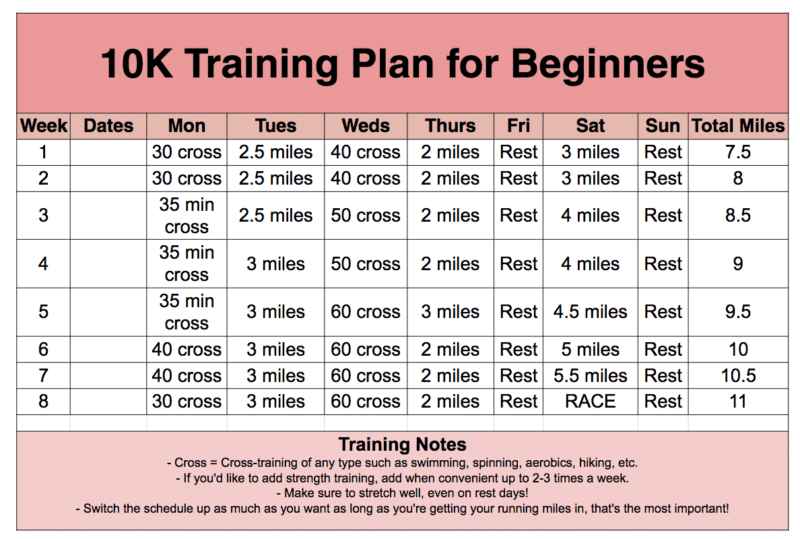 Free printable 10K training plan for beginners