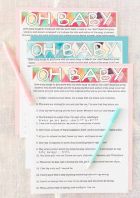 Printable baby shower songs game with pen