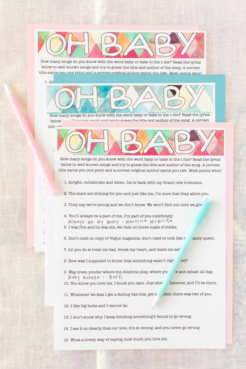 picture relating to Free Don't Say Baby Printable identified as Cost-free Printable Little one Shower Tunes Guessing Match - Enjoy Celebration Method
