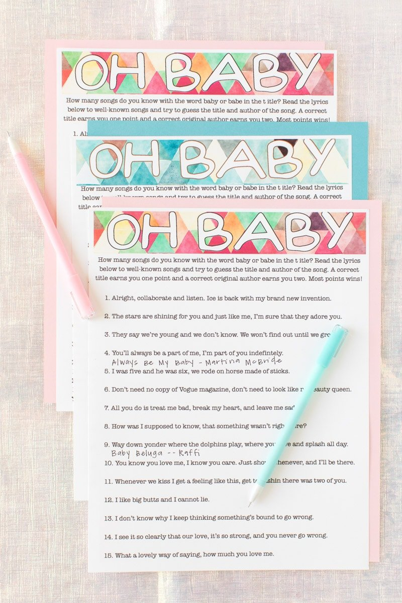photograph regarding Printable Baby Shower referred to as Absolutely free Printable Kid Shower Tunes Guessing Recreation - Enjoy Celebration Software