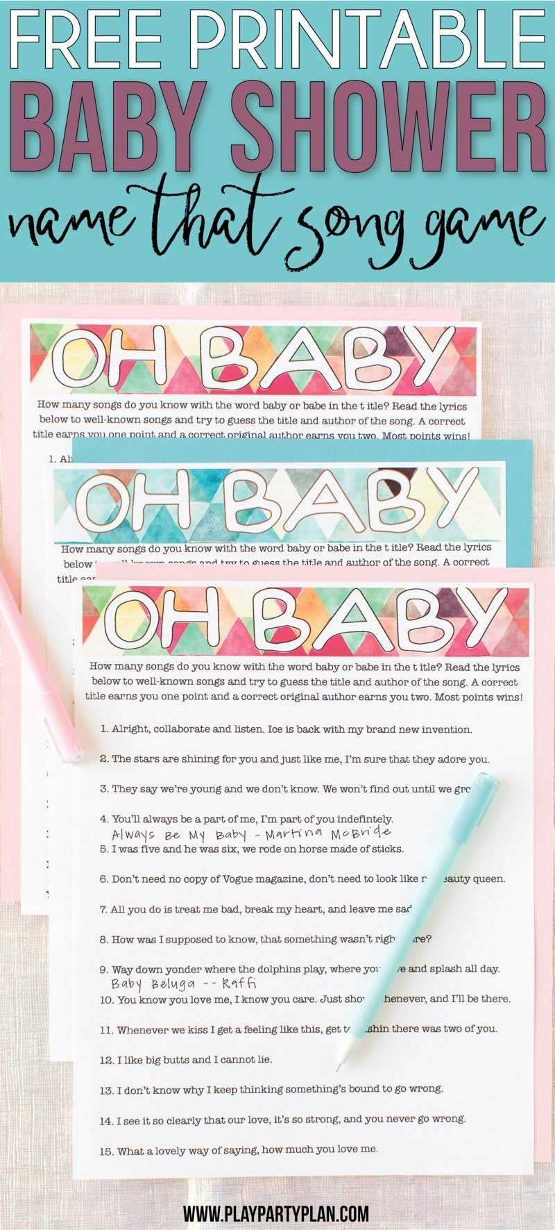 image relating to Baby Boy Shower Games Free Printable named Absolutely free Printable Kid Shower Music Guessing Match - Enjoy Occasion System