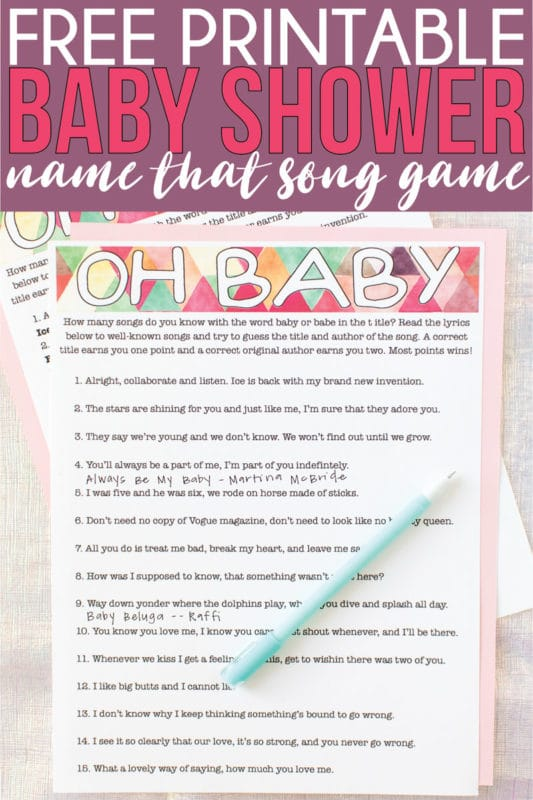 This guess the baby song game is the perfect printable baby shower game whether you're looking for boys, for girls, or for coed shower games! Easy to play and so unique your guests won't have played it before! One of the best games for men or women!