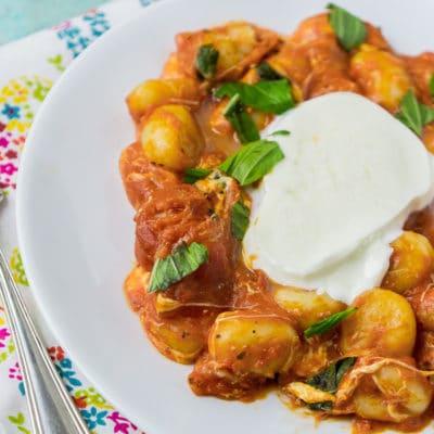 A delicious gnocchi tomato sauce with fresh mozzarella