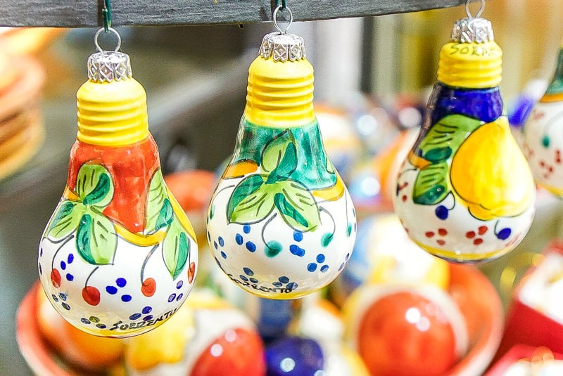 Lemon inspired Christmas ornaments in Sorrento Italy