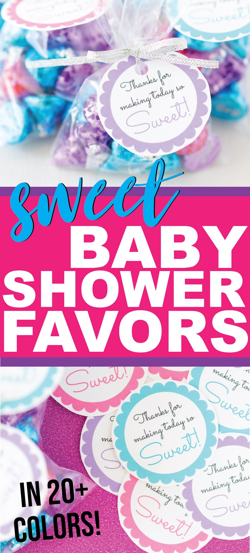 These are the sweetest baby shower favors for boys, for girls, and for guests of any age! They're cheap and can be filled with DIY homemade treats making them perfect for anyone looking for something inexpensive but still unique! Perfect for a baby shower on a budget!