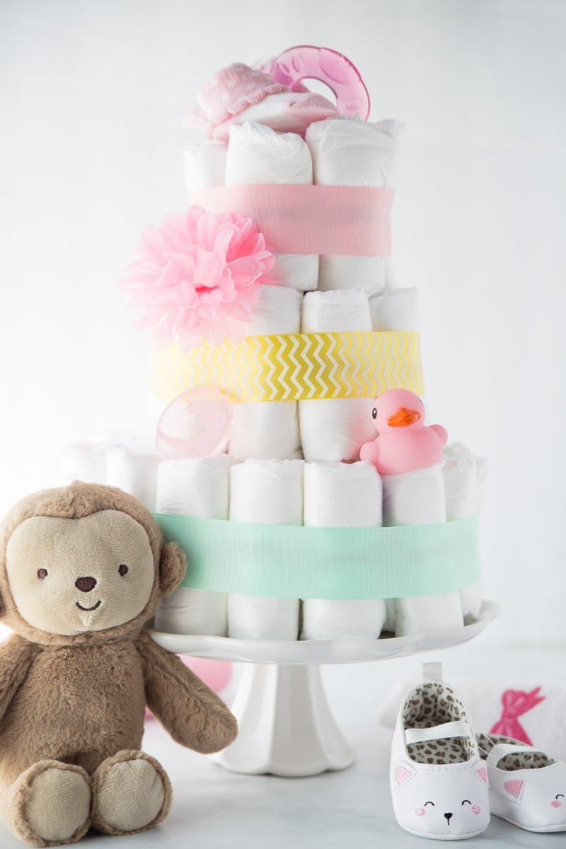 Step 4 in this step by step diaper cake tutorial