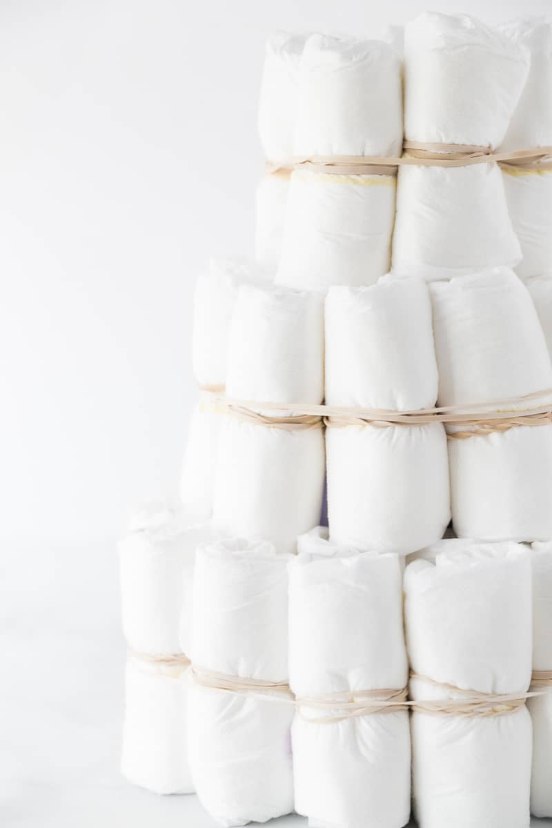 A close-up shot in a DIY diaper cake tutorial