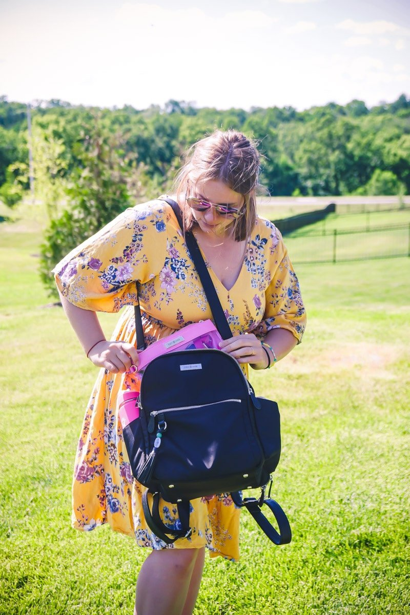 Lily Jade diaper bag open with pockets