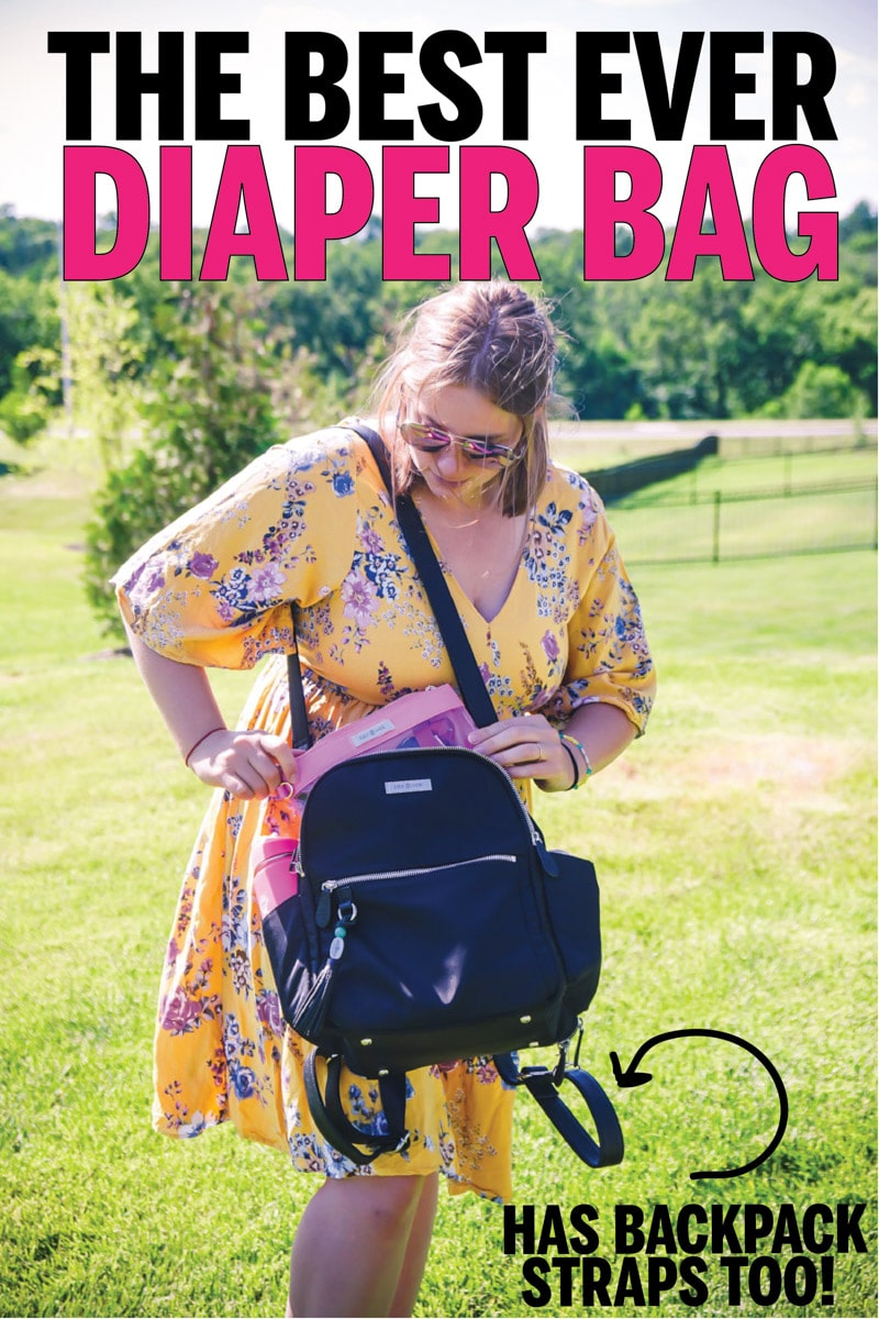 Mom with a Lily Jade diaper bag backpack