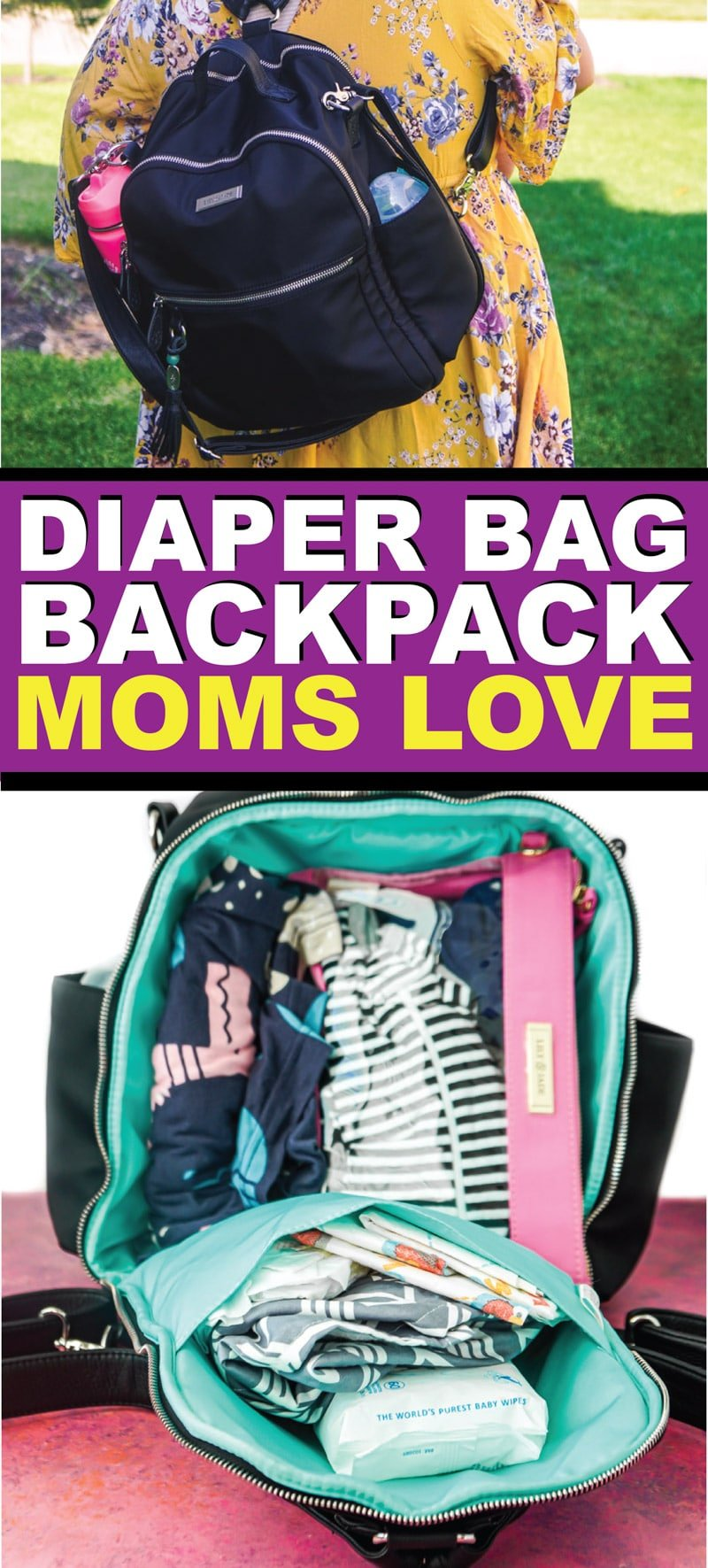 Two of the best diaper bag backpack options including a full review of Lily Jade diaper bags.