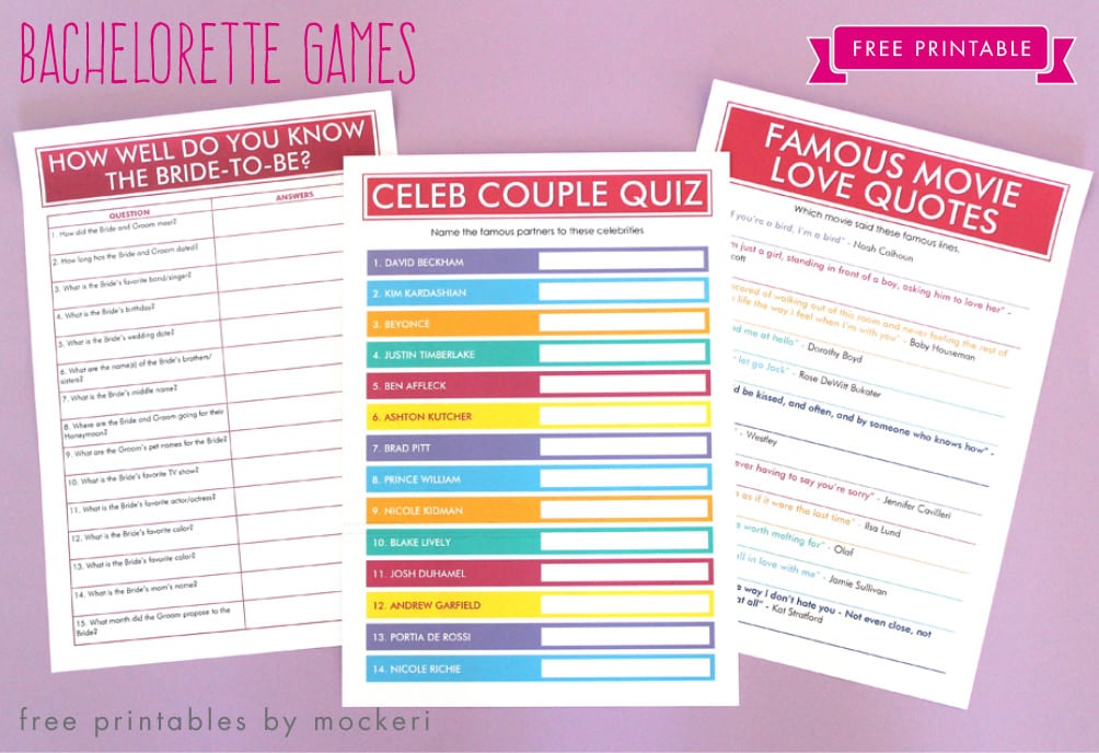 Printable movie quote guessing is a fun bachlorette party games
