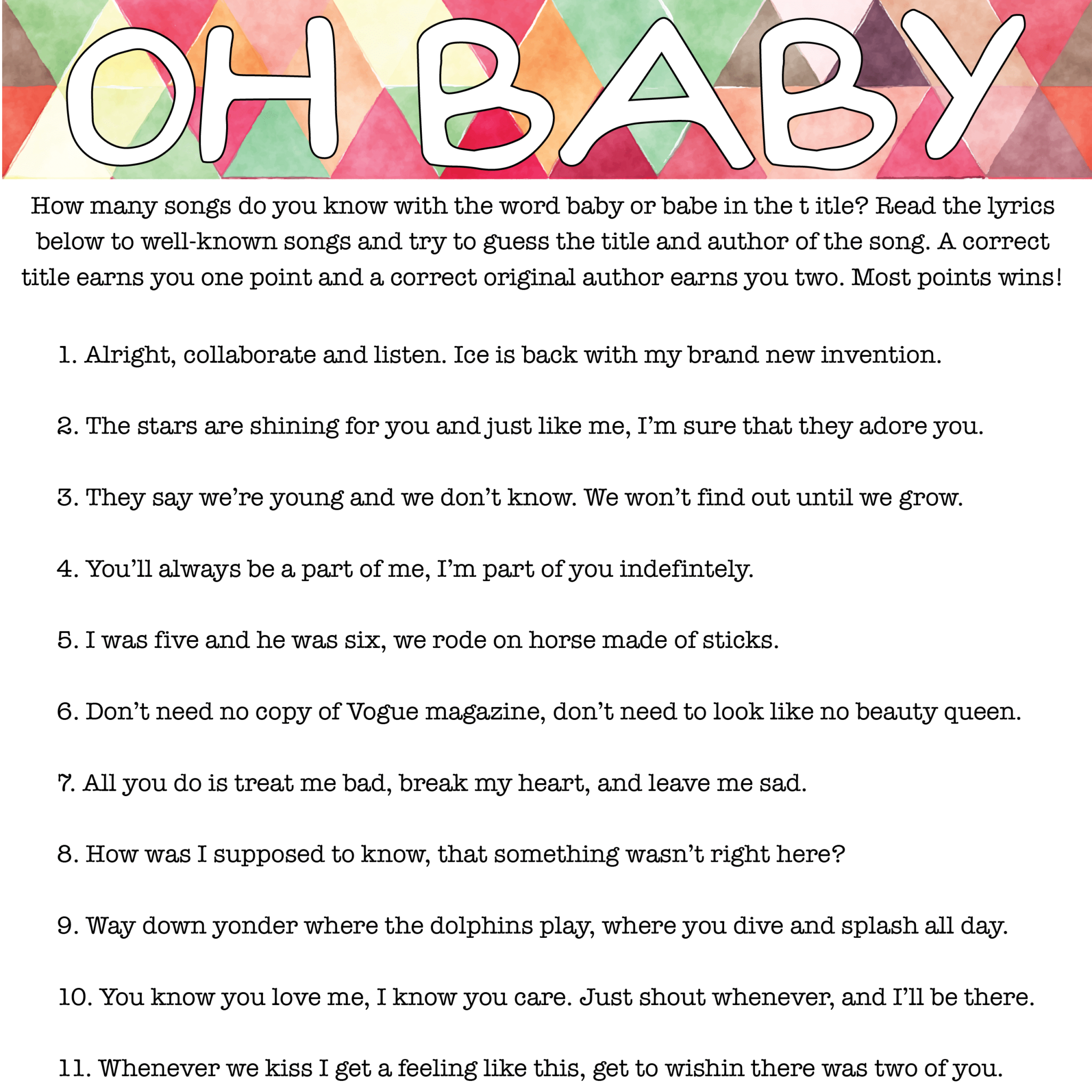 Oh Baby Free Printable Baby Shower Game Play Party Plan