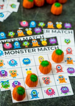 Halloween bingo cards inspired by Monster Mash