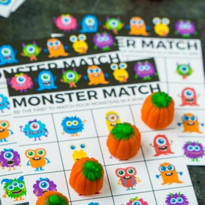 Monster Match Halloween Bingo Cards