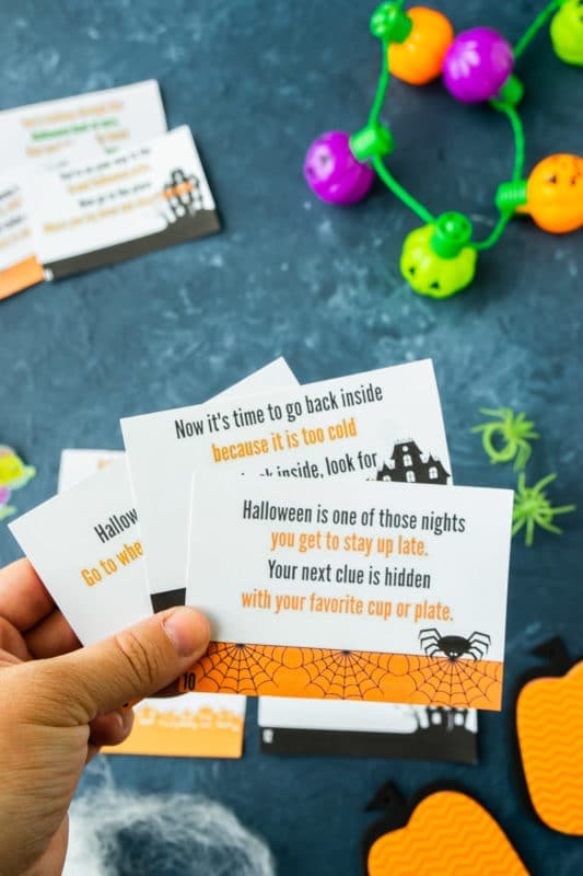 Printable Halloween scavenger hunt clues