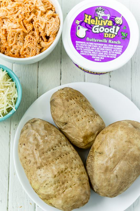 Ingredients needed for buffalo chicken potato skins