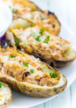 This buffalo chicken potato skins recipe is healthier than getting them at a restaurant