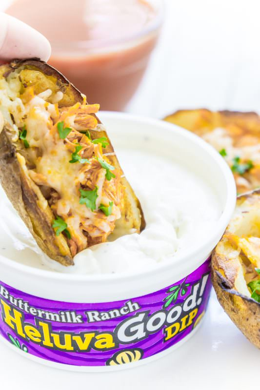 Cool down this potato skins recipe with a little ranch dip