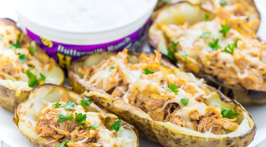 Buffalo Chicken Stuffed Potato Skins Recipe
