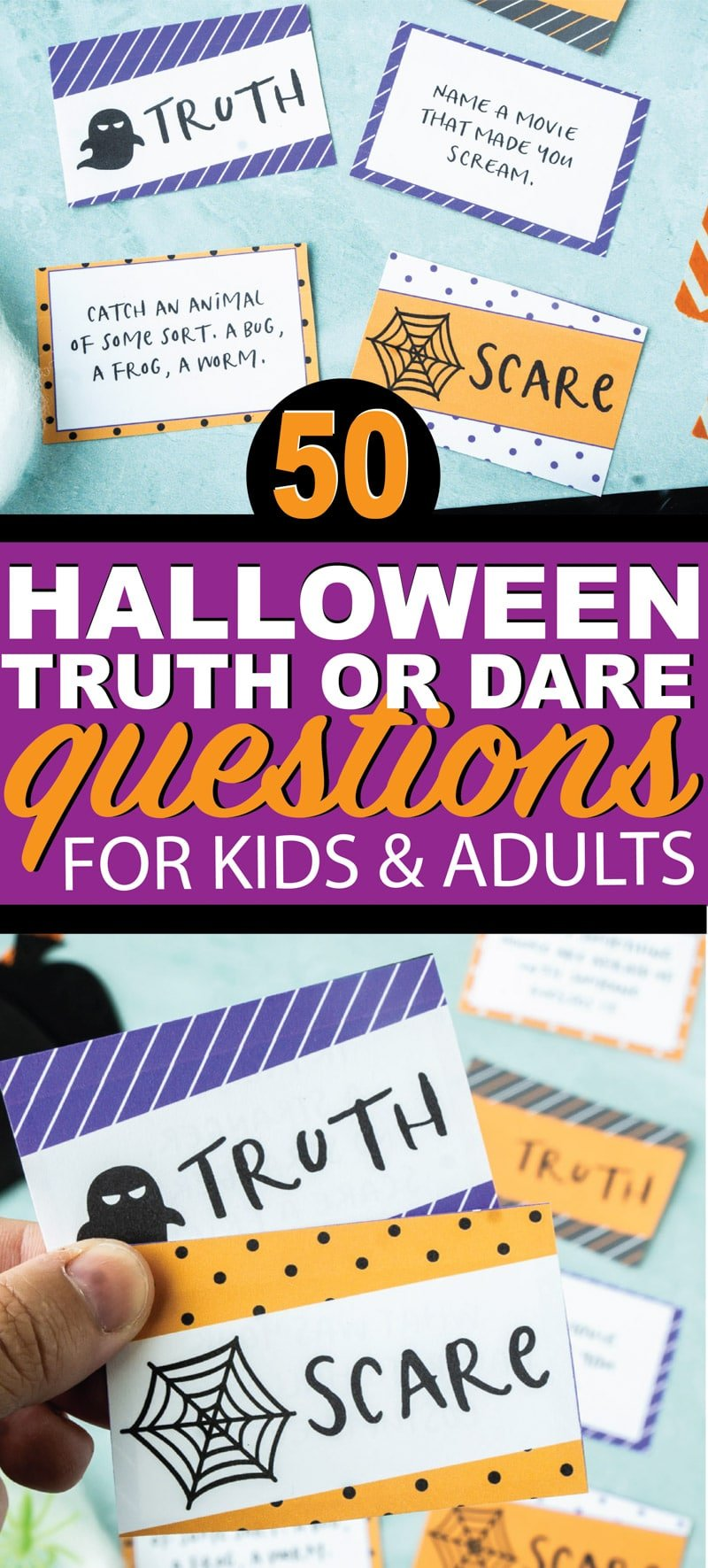 Fun Halloween inspired truth or dare questions! Perfect for teens, for kids, for girls, and for boys! Everyone will love this Halloween truth or scare version of the classic truth or dare game! And bonus - all of the truth or dare questions are clean. Perfect for some Halloween family fun!