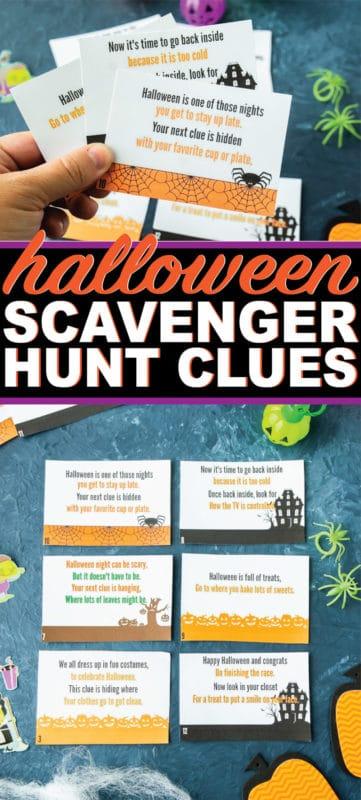 Free printable Halloween scavenger hunt clues