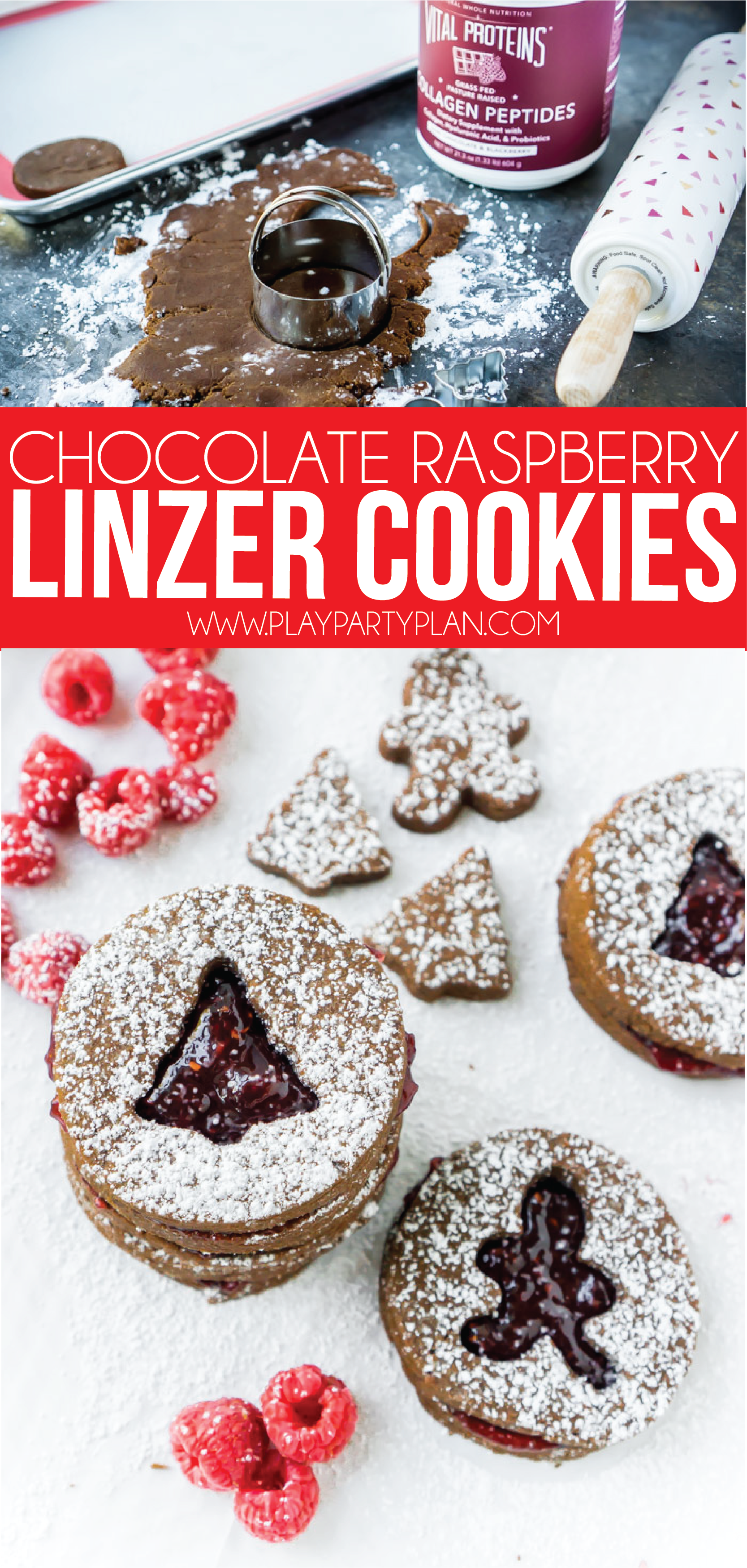 These chocolate raspberry Linzer cookies are not only some of the best Christmas cookies, if you overlook all the sugar, they're even healthy for you! They're soft, easy to make, and have a delicious raspberry filling!