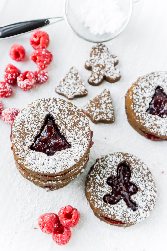 Raspberry Chocolate Linzer Cookies