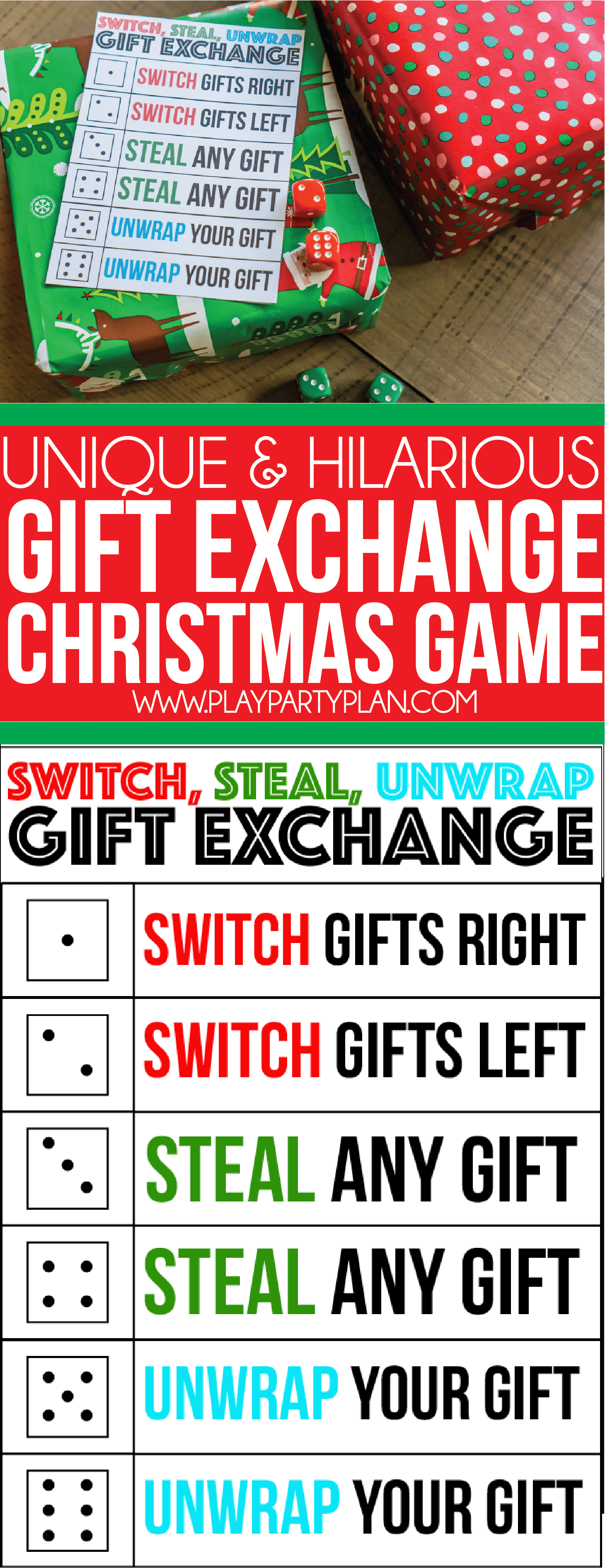 Switch Steal Unwrap Gift Exchange Dice Game Play Party Plan