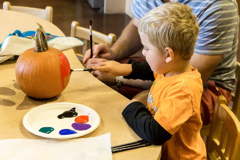 Painting pumpkins for Howloween at Great wolf Lodge