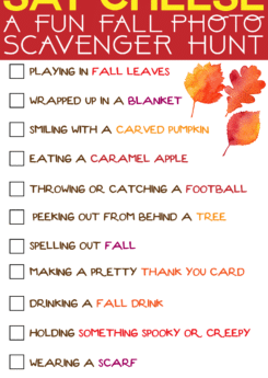 Try out this fun fall photo scavenger hunt