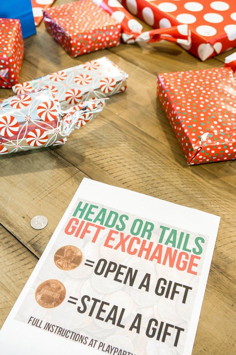 Playing sheet for a heads or tails gift exchange game