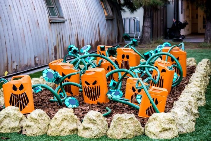 Gas can pumpkins in Disneyland Carsland Halloween