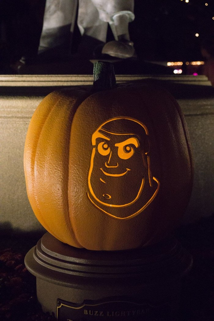 Buzz Lightyear carved pumpkin at Disneyland Halloween Time