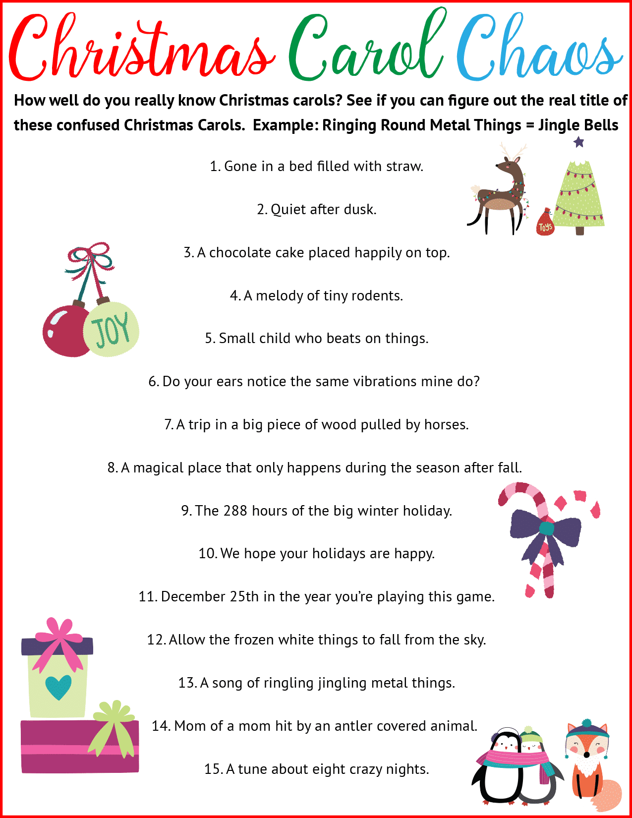photo relating to Christmas Song Scramble Free Printable named 7 Really should-Reads Strategies for Web hosting the Simplest Xmas Celebration At any time