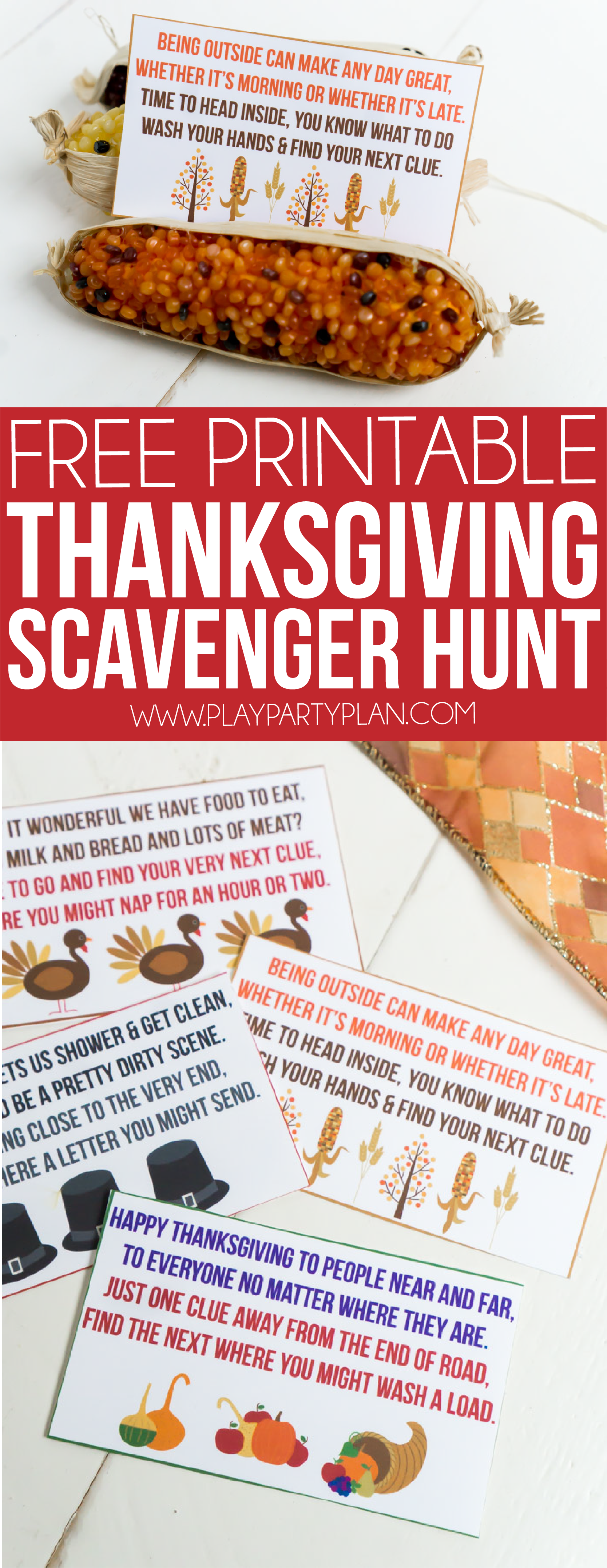 Love these Thanksgiving scavenger hunt ideas for kids! It's easy! Just print out the clues that send kids around the home and outdoor and see what they can find using the riddles on the printable cards! Perfect for preschoolers, for toddlers, or for family night activities! Definitely one of the cutest Thanksgiving games!