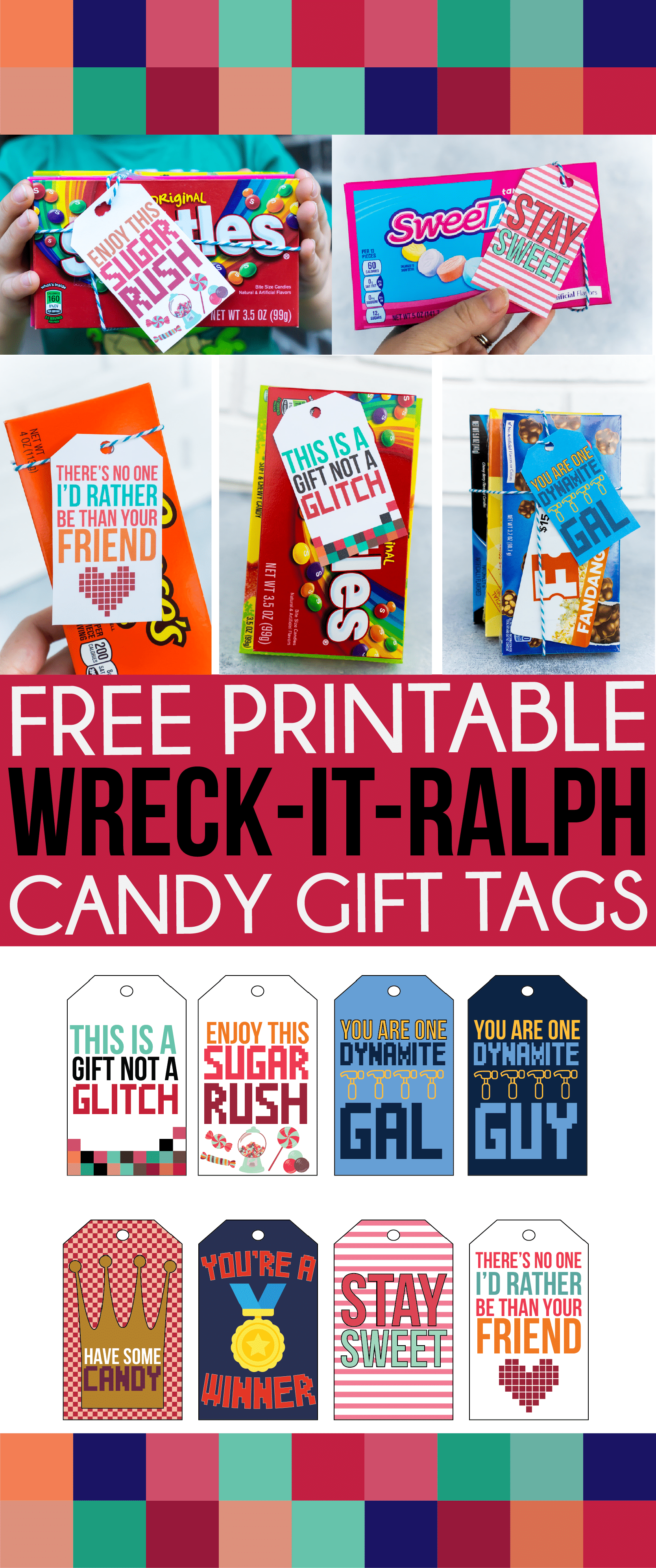 Free printable Wreck It Ralph gifts tags! Perfect for a sweet gift for a friend, teacher, or anyone who loves Disney!