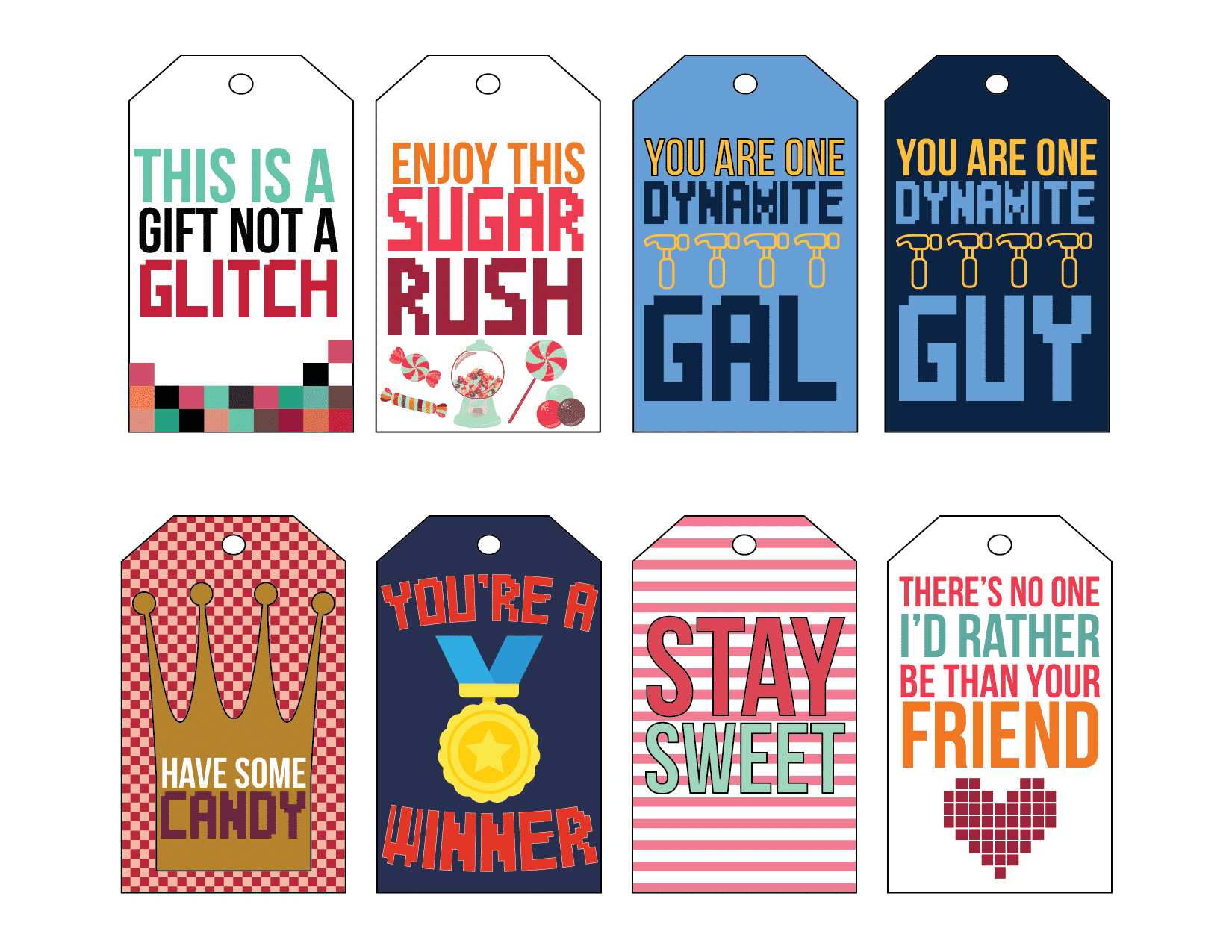 Wreck It Ralph gift tags for friends, neighbors, or gifts
