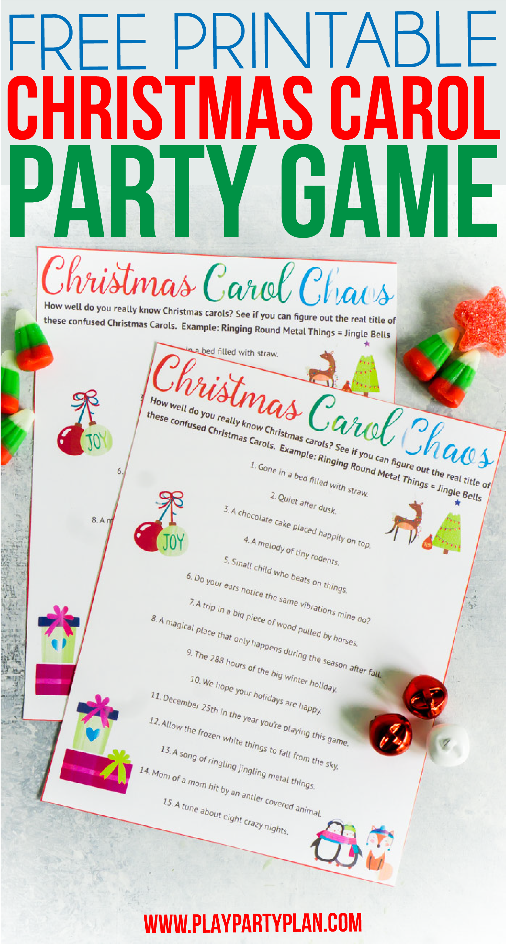 A fun printable Christmas party game where you have to figure out mixed up Christmas songs! One of the best Christmas party games ever!