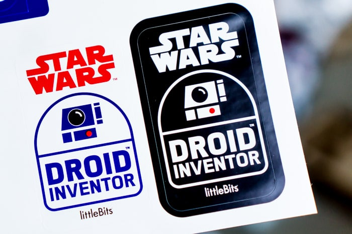 Don't forget to grab the stickers in the littleBits droid kit
