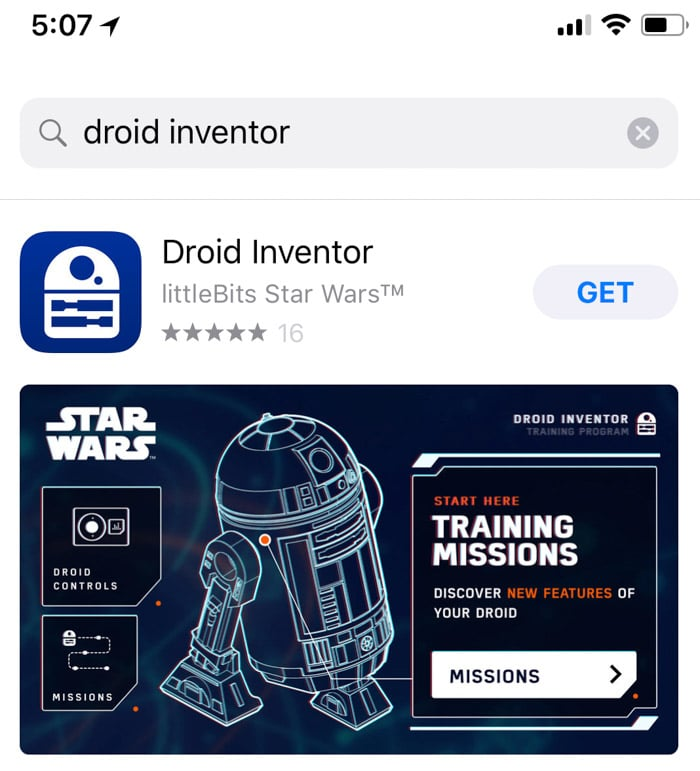 Download the droid inventor app to use with the littleBits droid inventor kit