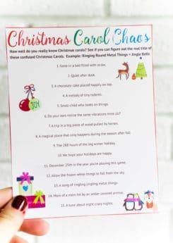 A printable Christmas song Christmas party game