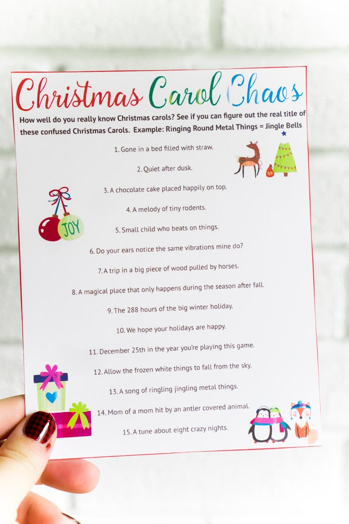 a printable christmas song christmas party game - Simple Plan Christmas Song