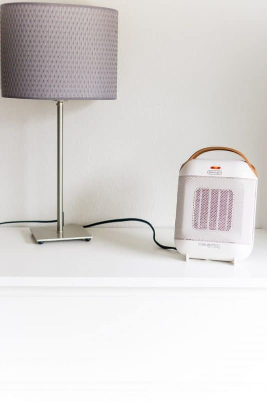 De'Longhi capsule heater on bedside table