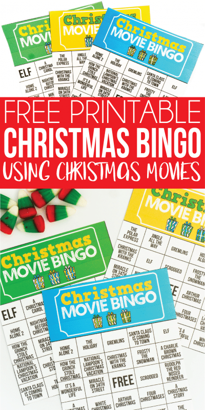This fun printable Christmas bingo game is perfect for large groups (like for 20 people) and for adults! Instead of just matching the spaces on the boards, players have to match the movie quote or actor to the spaces on the free cards provided! Or if you want it for kids, just use the regular names of the movies instead!