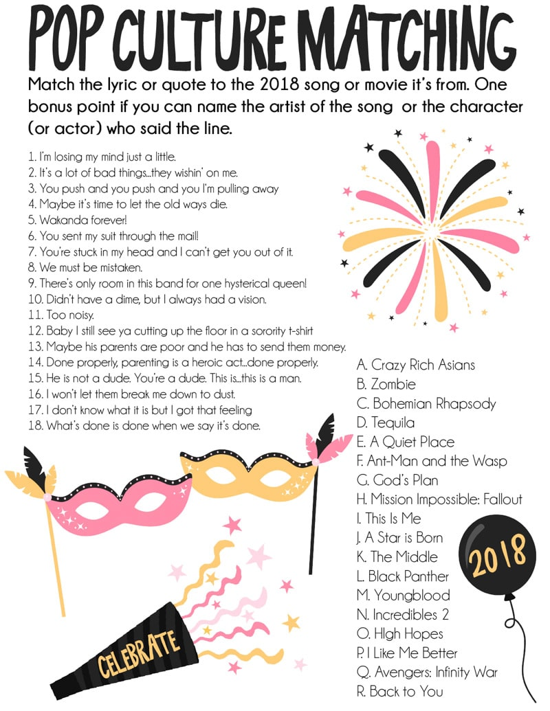 One of the best printable New Year's Eve games