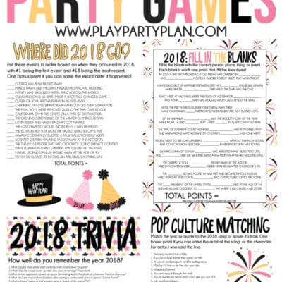 Printable 2018 New Year's Eve Games